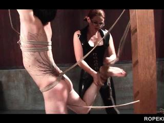 Roped male sex slave submitted to torture