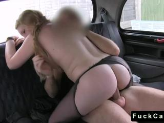 Busty blonde fucks driver in his cab