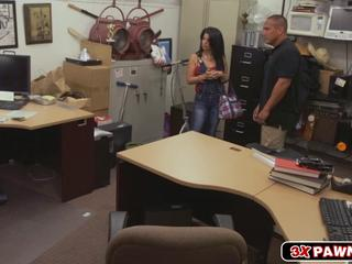 Cuban chick goes wild in pawn shop and fucks for money