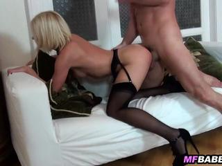 Kiara Lord in black stockings gets fucked on couch