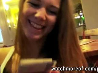 Eager real amateur Dominika flashes her tits in public and fucked for cash