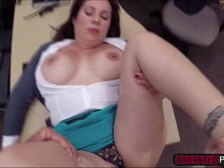 Milf shows tits and sucks a cock inside pawnshops office for cash