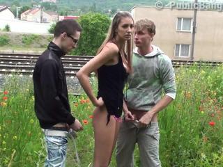 Cute teen PUBLIC threesome