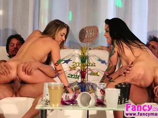 Hot brunettes Kimmy Granger and Katrina Jade gets fucked hard