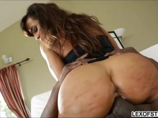 Curvaceous milf exposes her meaty ass and tits and she gets pounded