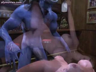 Anime slut gets huge blue penis
