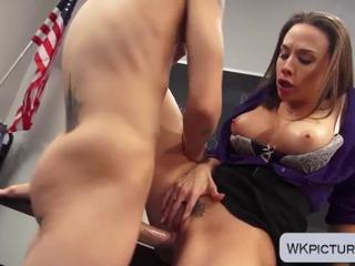 Milf brunette teacher Chanel Preston fucked by student