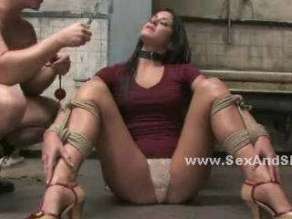 Beautifull brunette with huge boobs cuffed in chains and destroyed in anal sex video