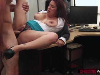 Busty MILF sells her pussy to a pawnshop owner to bail husband out