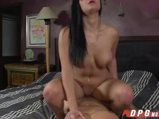 Hot Brunette Jessyca sucks and fucks new big cock