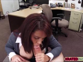 Lovely brunette desperate MILF punished at the shop instead gets caught sucking owners dick