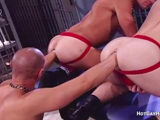 Two Slaves Extreme Fisting in Gay BDSM Threesome