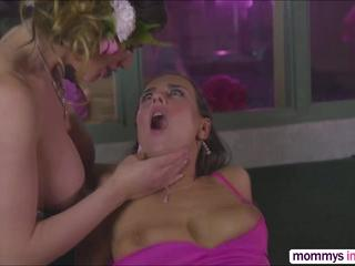 Cutie brunette Mea and  Milf Cathy gets fuck hard in threesome sex