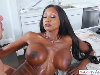 Black milf fucked and facialized by a white dude