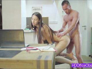 Hot horny secretary Kitty Jane gets fucked hard in cowgirl position