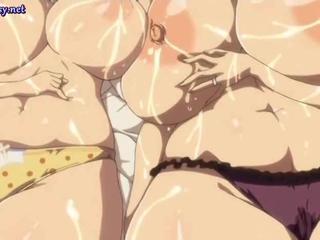 Anime lesbos with milky boobs