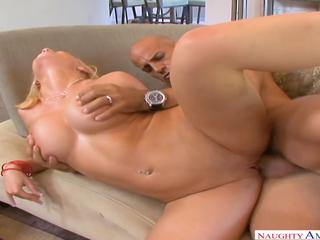 Blonde with big tittes really love his cock