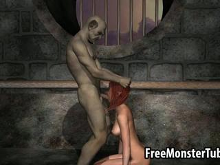 Sexy 3D redhead elf babe gets fucked by a goblin