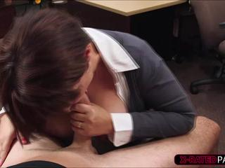 Sexy MILF sells husbands card collection and ends up in the office