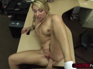 Gorgeous blonde woman walks in to sell her puppies and gets fucked