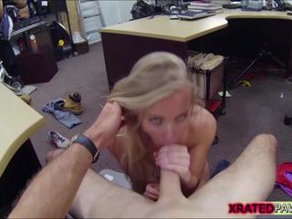 Super sexy desperate Bimbo punished at the shop instead gets caught sucking owners dick
