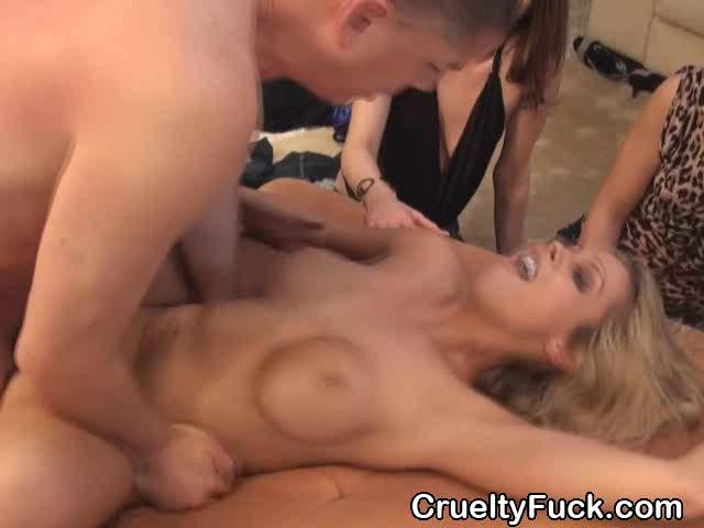 Blonde milf gets facial in front of her friends in public sex pa