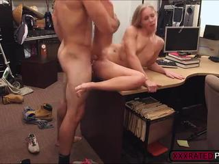 MILF exposes her tits while pawning her car and she gets hardcore pounding