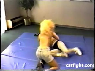 Topless female wrestling and boxing