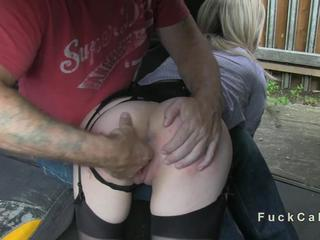 Cheated British wife fucked in fake taxi