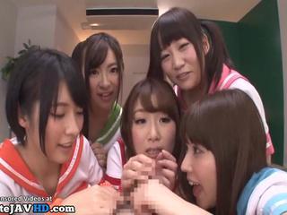 Japanese schoolgirls seduce and fuck their teacher - More at Elitejavhd.com