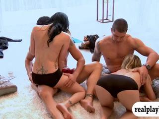 Huge boobs hotties and nasty guys enjoying sex games