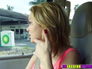 Pretty petite Dakota Skye rides drivers cock