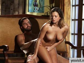 Big titted brunette babe Keisha Grey pussy nailed on sofa