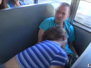 Madison ScottMaddys pussy gets probed after she gives a blowjob inside the school bus