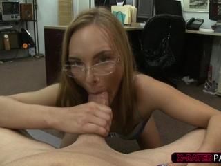 Hot and brunette chick gets her pussy hammered by Shawn in his office
