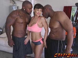 Sweet babe Lisa Ann fucking two huge black cocks