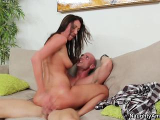 Brunette MILF fucks and drinks his cum