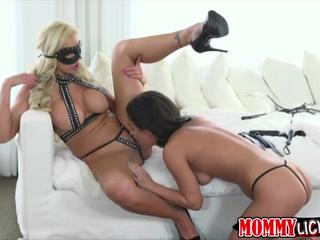 Blonde MILF Nina gets slammed by high schooler Amara dildo on strap