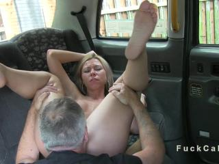 Tied up amateur banged in fake taxi