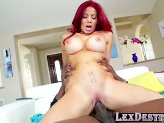 Redhead and voluptuous Ryder Skye in interracial fuck with Lex