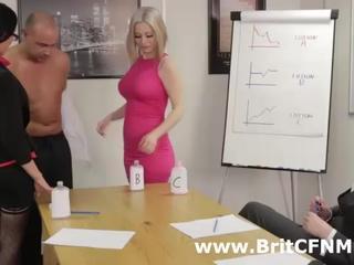 Group of British CFNM girls strip man at business meeting