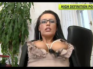 Mela suck hard on Janitors cock