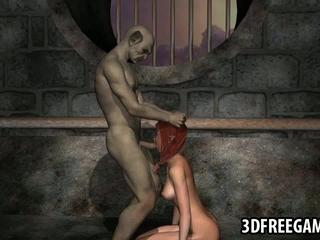 Hot 3D redhead elf babe gets fucked hard by a goblin