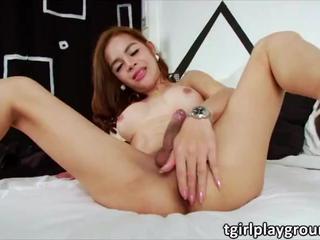 Petite Asian Tgirl Pan tugs her lovely dick until she milks cum