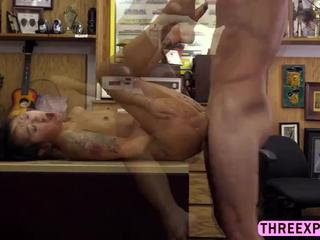Petite Asian masseur  gives a great cock massage in the shop