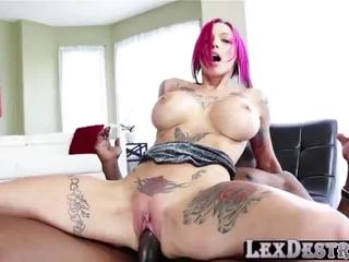 Redhead and busty Anna Bell gets her pussy fucked by Lexington