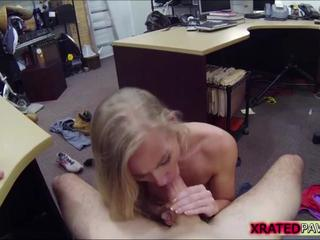 Sexy and pretty blonde wants to sell her car ended up sucking buyers dick