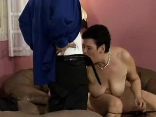 We enter this scene as two guys, who answered this 64 year old womens sex personals, has arrived to her place and theyve all agreed to get some action going. She gently starts jerking off one of the guys and after a while she takes his cock in her old mouth. After fucking her big hairy pussy in all sorts of positions the guys decided to spray their loads of cum all over her tits.