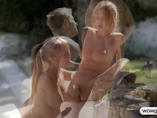 Teen cutie works out and fucked outdoor