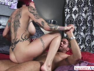 Slutty milf gets cum on tits after hardcore sex
